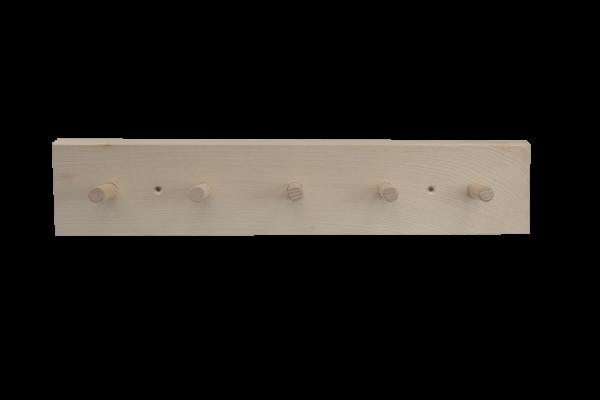 Holzgarderobenleiste mit 5 Haken