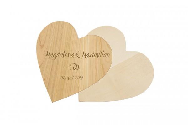 Doppelherz Holz personalisierbar