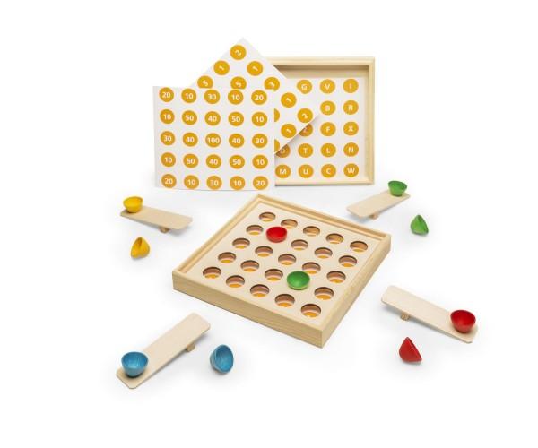 Huthüpfspiel Lernspiel - Inhalt aus Holz